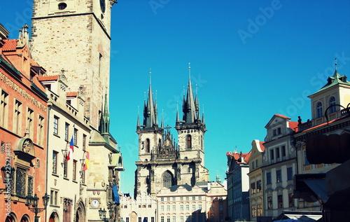 Staande foto Praag Prague Tyn Cathedral & Clock Tower, Czech Republic