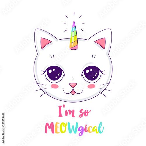 Photo Cute cat or unicorn illustration with slogan