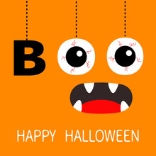 Happy Halloween. Hanging Word BOO Text Eyeballs Bloody Veins. Spooky Screaming Mouth, Fangs. Dash Line Thread. Greeting Card. Flat Design. Orange Background.