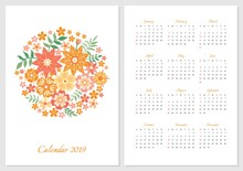 Calendar For 2019 Year. Week S...