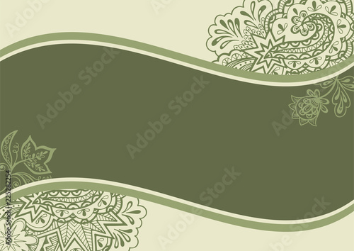 Background With Abstract Floral Outline Calligraphic Pattern