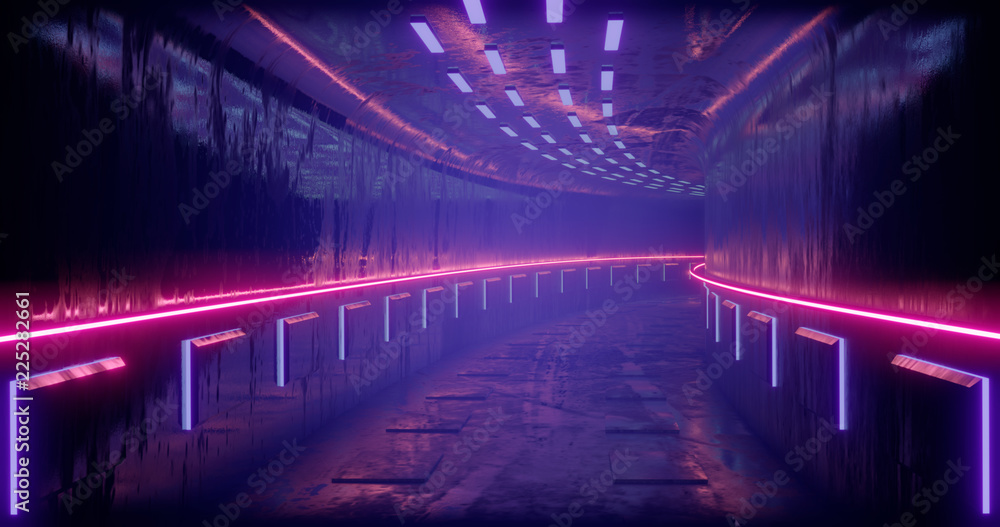 Fototapety, obrazy: 3D rendering illustration. Sci-Fi futuristic abstract gradient blue violet pink neon. A glowing corridor on the reflection of the concrete floor. A dark interior room.