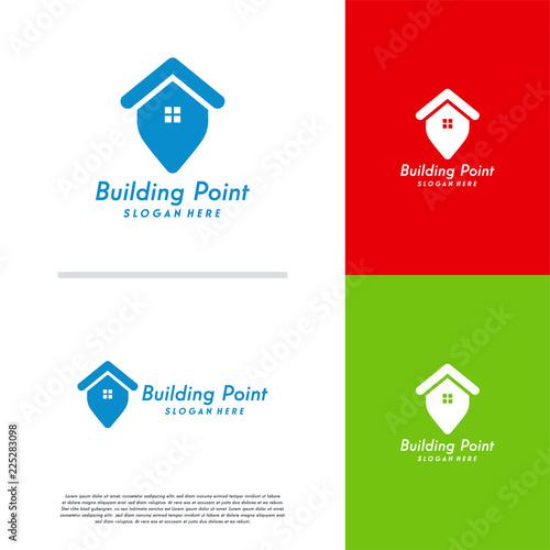 Building Point Logo Designs Concept Vector House Template