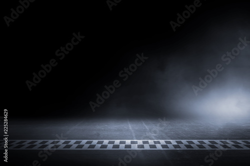 Photo sur Aluminium Motorise Race track finish line racing on night
