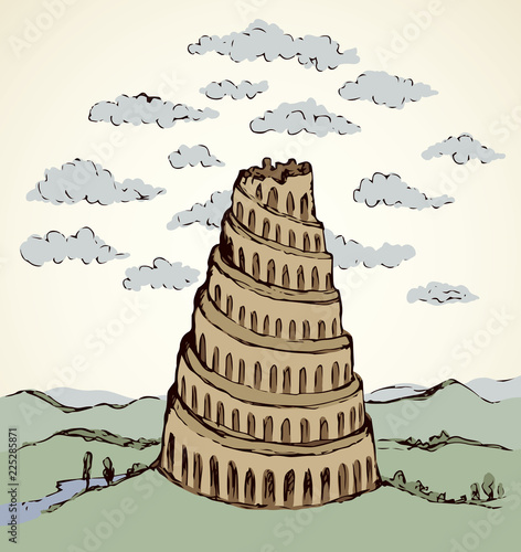 Foto Tower of Babel. Vector drawing