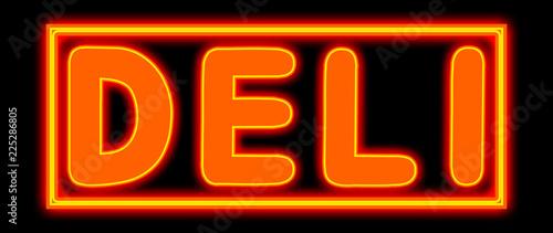 Vászonkép Deli - glowing text on black background