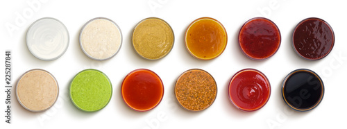 Fototapeta Different sauces isolated on white background, top view obraz