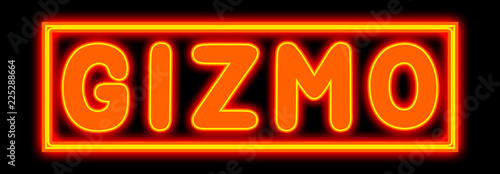 Gizmo - glowing text on black background Canvas Print