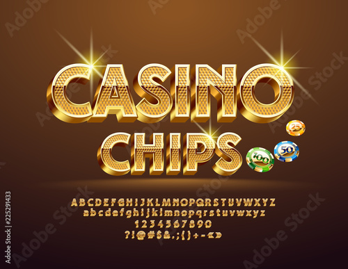 Foto  Vector Golden pattern text Casino Сhips with Illustration