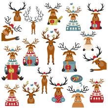 Cute Reindeer Sticker Icon Set...