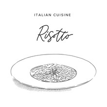 Risotto On A Plate, Sketch Style Vector Illustration