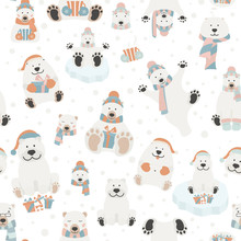 Cute Polar Bear Seamless Pattern. Elements For Christmas Holiday Greeting Card, Poster Design