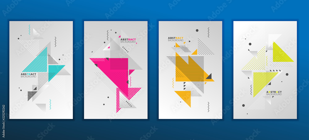 Fototapeta Abstract geometric composition forms modern background with decorative triangles and patterns backdrop vector illustration set