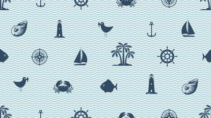 Vector seamless pattern with cute sea objects, anchor, sailboat, lighthouse, crab, fish, seagull, palm, seashell. Dark blue elements of marine design on white background with waves