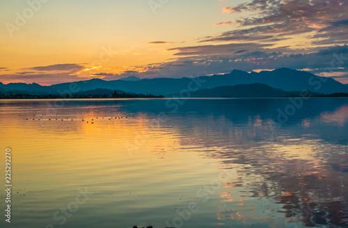 Foto auf AluDibond See sonnenuntergang Sunrise over the Upper Zurich Lake (Obersee), Switzerland