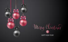 Christmas Background With Rose And Black Evening Baubles