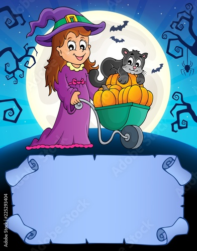 Fotobehang Voor kinderen Small parchment and cute witch 2