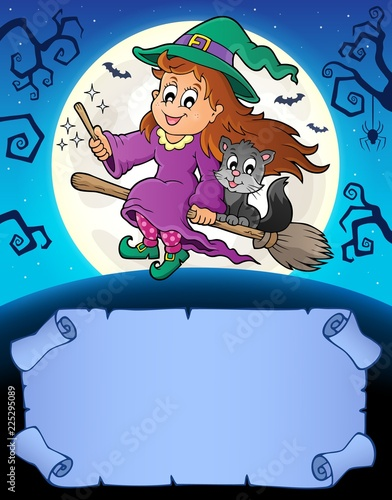 Fotobehang Voor kinderen Small parchment and cute witch 3