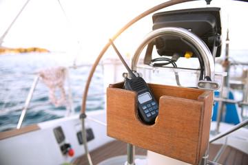 On board communication radio on a sailboat
