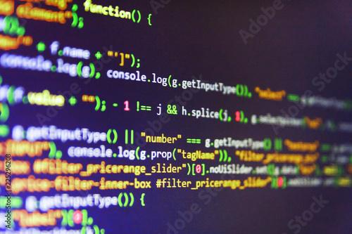 JavaScript code in text editor  Screenshot with random parts