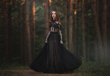 A Beautiful Gothic Princess With Pale Skin And Very Long Red Hair In A Black Crown And A Black Long Dress In A Misty Fairy Forest. The Costume Of The Dark Queen.