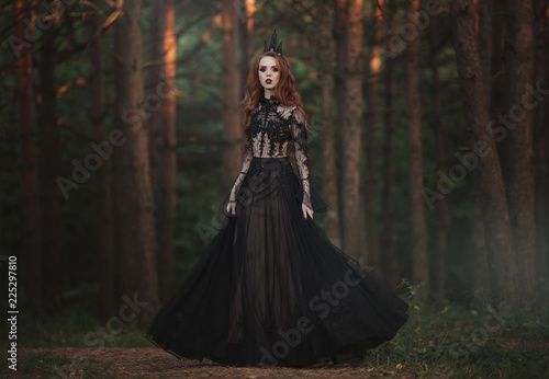 Fotografie, Obraz  A beautiful gothic princess with pale skin and very long red hair in a black crown and a black long dress in a misty fairy forest