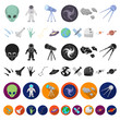 Space technology cartoon icons in set collection for design.Spacecraft and equipment vector symbol stock web illustration.