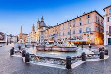 Rome, Italy. The Moor Fountain At Piazza Navona.