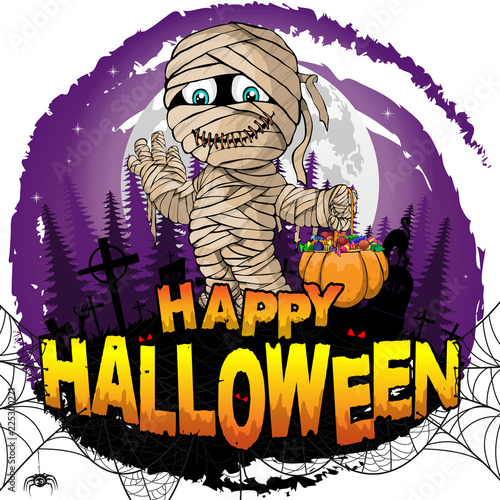 Happy Halloween Design Template With Mummy Vector Illustration