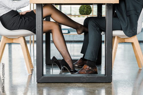 Fotografie, Tablou cropped shot of businesswoman flirting with businessman during work in office