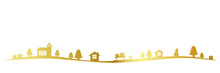 Golden Christmas Landscape Border With Church Firs Houses And Gifts