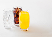 Glasses Of Soda Drink With Ice...