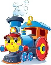 Funny Multicolored Locomotive, Train. Toy Train. Vector Illustration