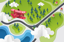 Paper Art Of Red Plane Fly Above Lake And Forest, Travel And Explore Concept