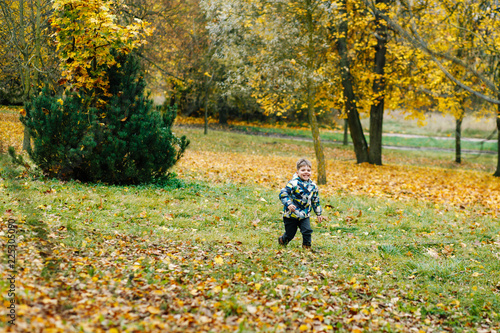 cheerful little boy running around in autumn park