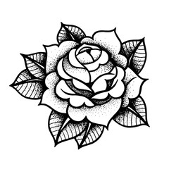 Tattoo Rose flower. Vector illustration art Isolated vector