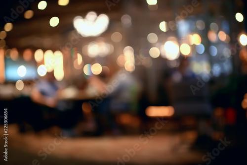 Obraz blurred background in restaurant interior / serving and details in blurred bokeh background, concept catering, restaurant modern - fototapety do salonu
