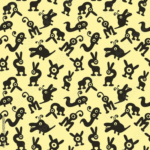 seamless background with monsters and aliens beige Wallpaper Mural