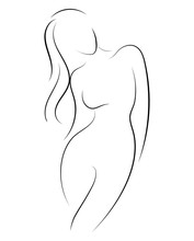 Female Figure. Outline Of Youn...