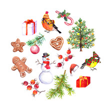 Christmas Elements - Christmas Tree, Gingerbreas Coockies, Present Boxes, Snowman, Fir Tree Branches, Birds. Watercolor