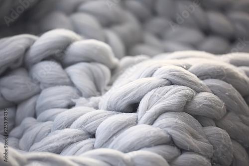 Foto  gray plaid close-knit / background texture woolen cozy plaid