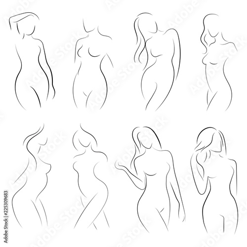 Set of female figures  Collection of outlines of young girls