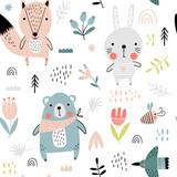 Fototapeta Fototapety na ścianę do pokoju dziecięcego - Cute forest animals seamless pattern