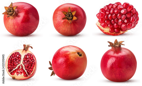 Collection ripe pomegranate fruit, whole, cut in half, slice