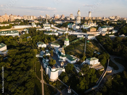 Aerial panoramic view of Kiev Pechersk Lavra churches and monastery on hills from above, cityscape of Kyiv city