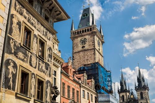 Staande foto Praag Prag, Rathaus und Teynkirche