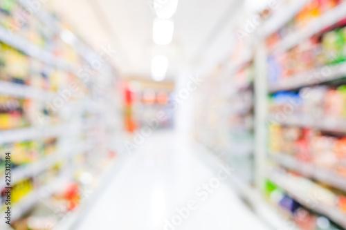 Fotografering  Blurred background, blur grocery supermarket at shopping mall background, busine