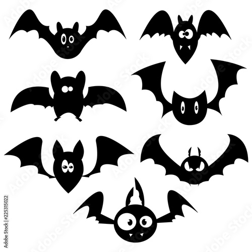 set of bats for halloween collection of black bats silhouettes of rh stock adobe com Scary Ghost Silhouette Clip Art Halloween Witch Clip Art