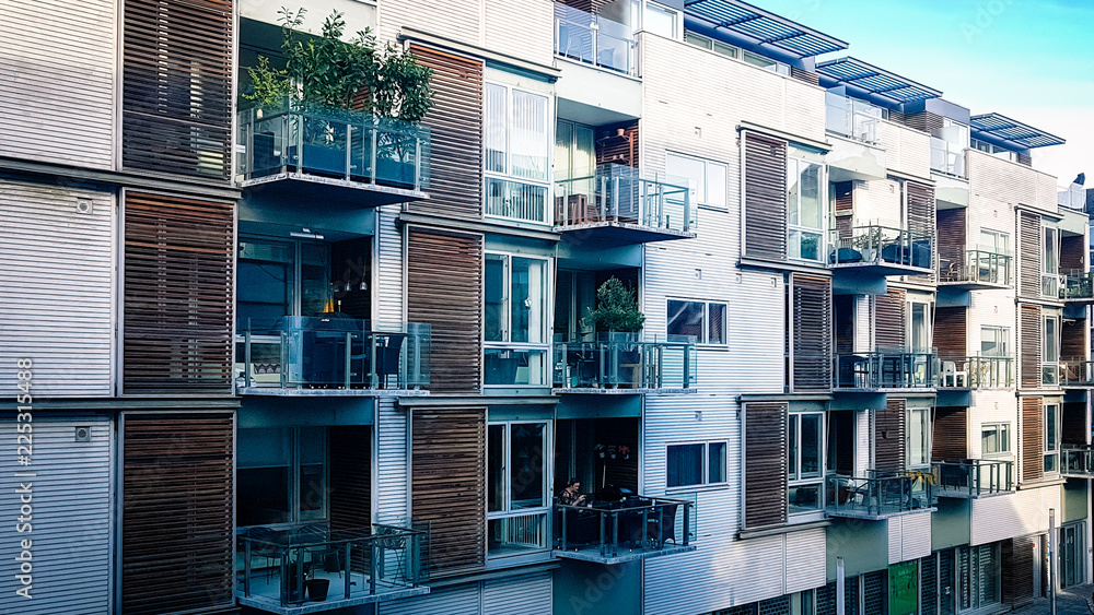 Fototapety, obrazy: View of modern style city centre apartment block in Aarhus Denmark