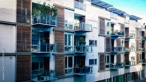 Wall Murals Northern Europe View of modern style city centre apartment block in Aarhus Denmark